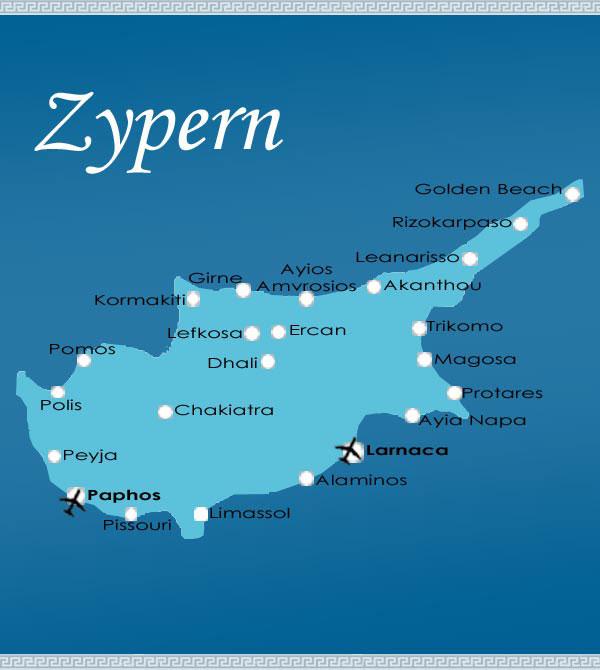 Zypern Karte von Zypern.org